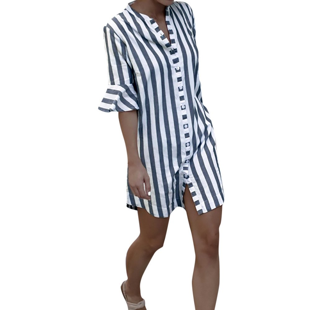 Spbamboo Clearance Sale! Women Horn Sleeve Striped Half Sleeve Tops Long Blouse by Spbamboo