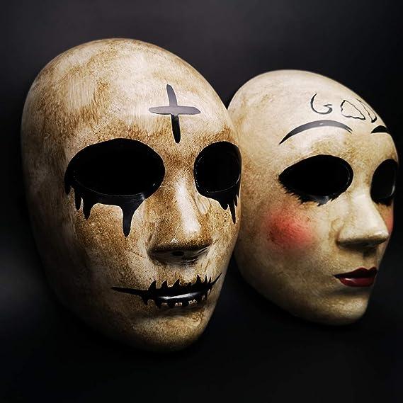 CCUFO Máscara Cruzada y máscara de Dios para Disfraz de Halloween, máscara de Pareja, máscara de Purga de Horror y película de Purga anarquía, para Adultos ...