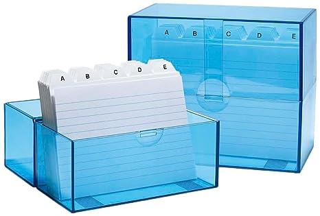Wedo 2506303 - Caja archivadora de tarjetas DIN A6/300, azul translúcido