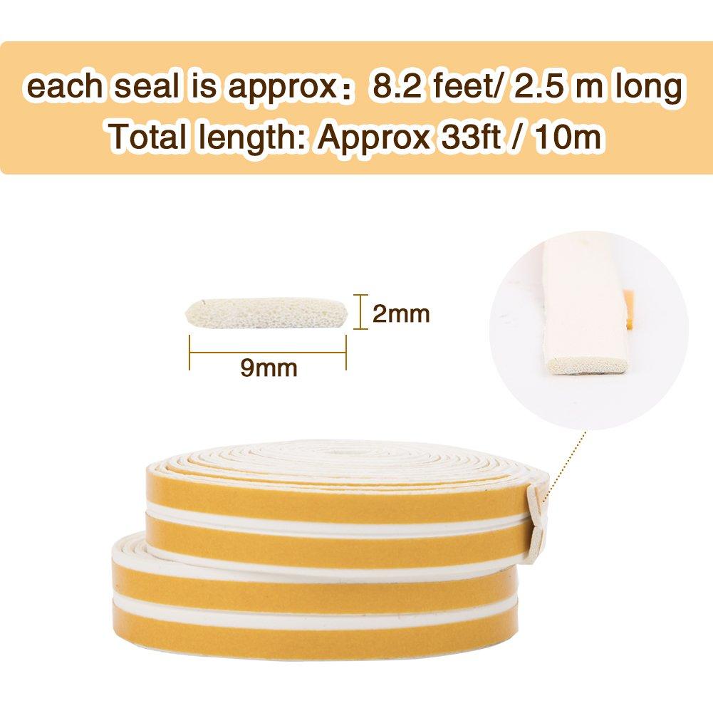 Imperm/éable Joint de porte en mousse Bande de joint d/étanch/éit/é en caoutchouc pour Fen/être//Porte 9mm x 2mm x 2.5m,4 joints Total 10M White Anticollision Auto-Adh/ésif Bande de Joint I-Profil