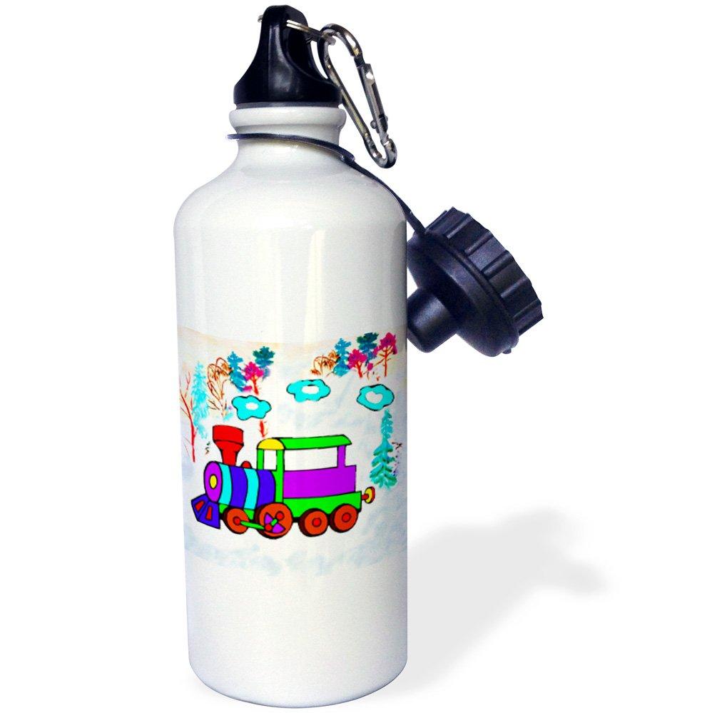 White 21 oz 3dRose wb/_1301/_1 Kids ChooTrain Sports Water Bottle