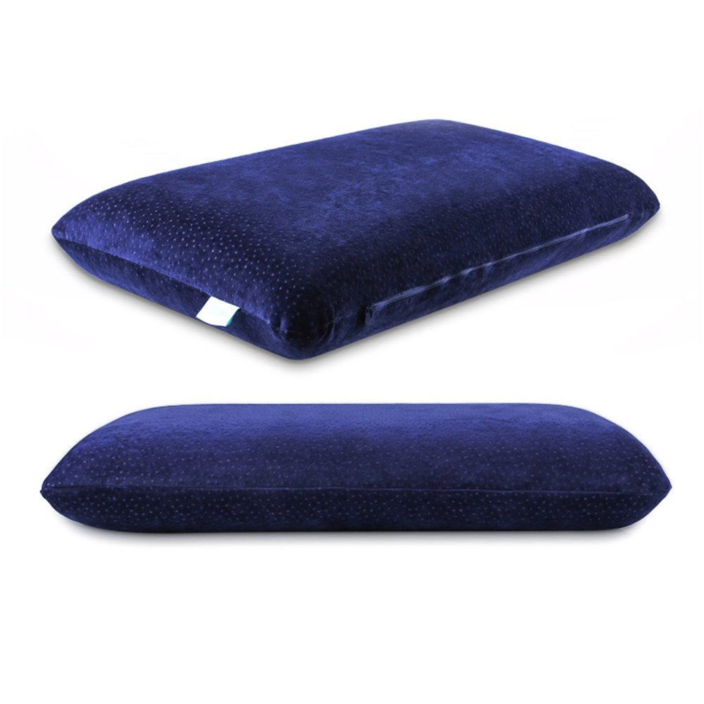Gel Memory Foam Pillow Warm in winter and cool in summer and Suspended zero pressure one pillow core comes with 2 pillowcases (Deep blue velvet pillowcase+thermostatic gel suspension pillow)