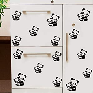 Panda Wall Decals Panda Wall Stickers Cute Panda Vinyl Wall Decals Nursery Decals for Kids Room Decor (Black, 43 pcs)