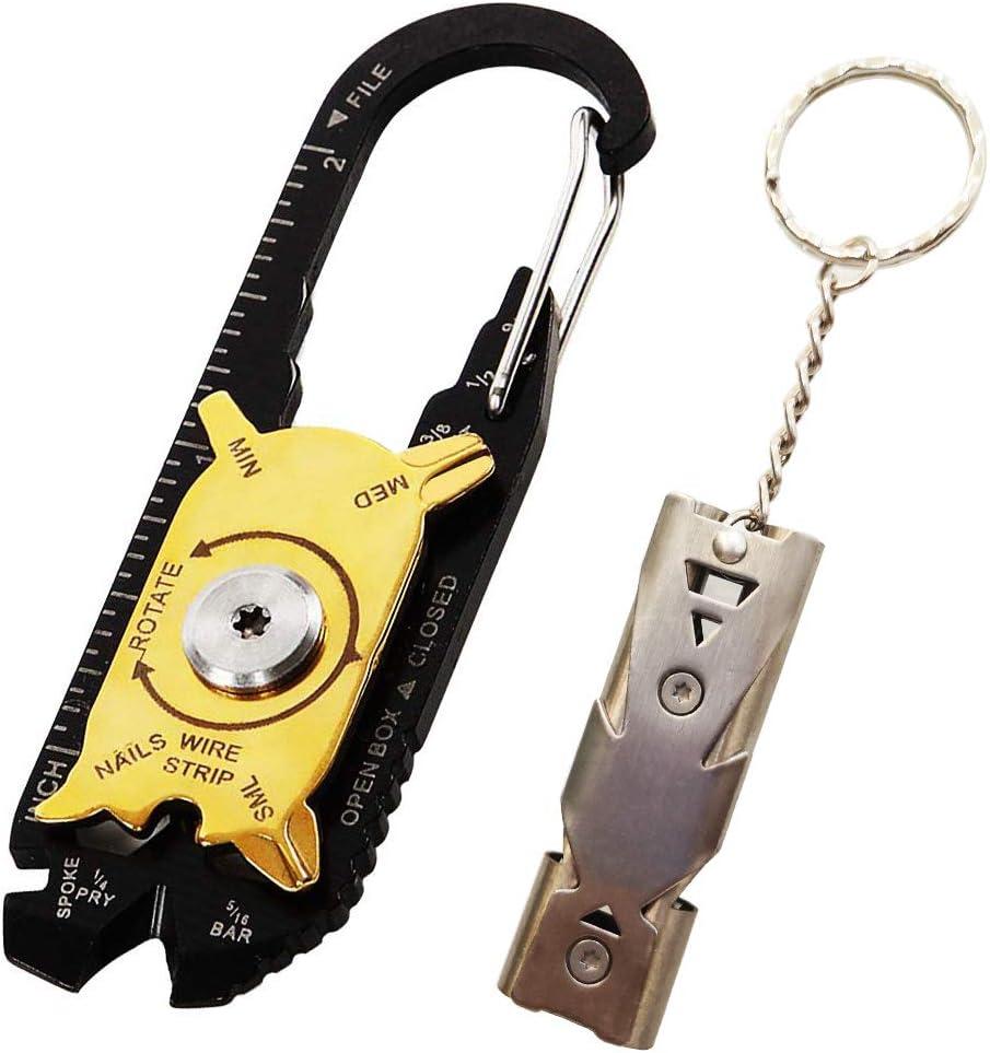Pocket Multi Tool mit Schl/üsselanh/änger Grau Edelstahl High Decibel Whistle f/ür Berg /Überleben Notfall 1 Aluminium Pfeifes CESFONJER Pocket Multi Tool Kit Signalpfeife