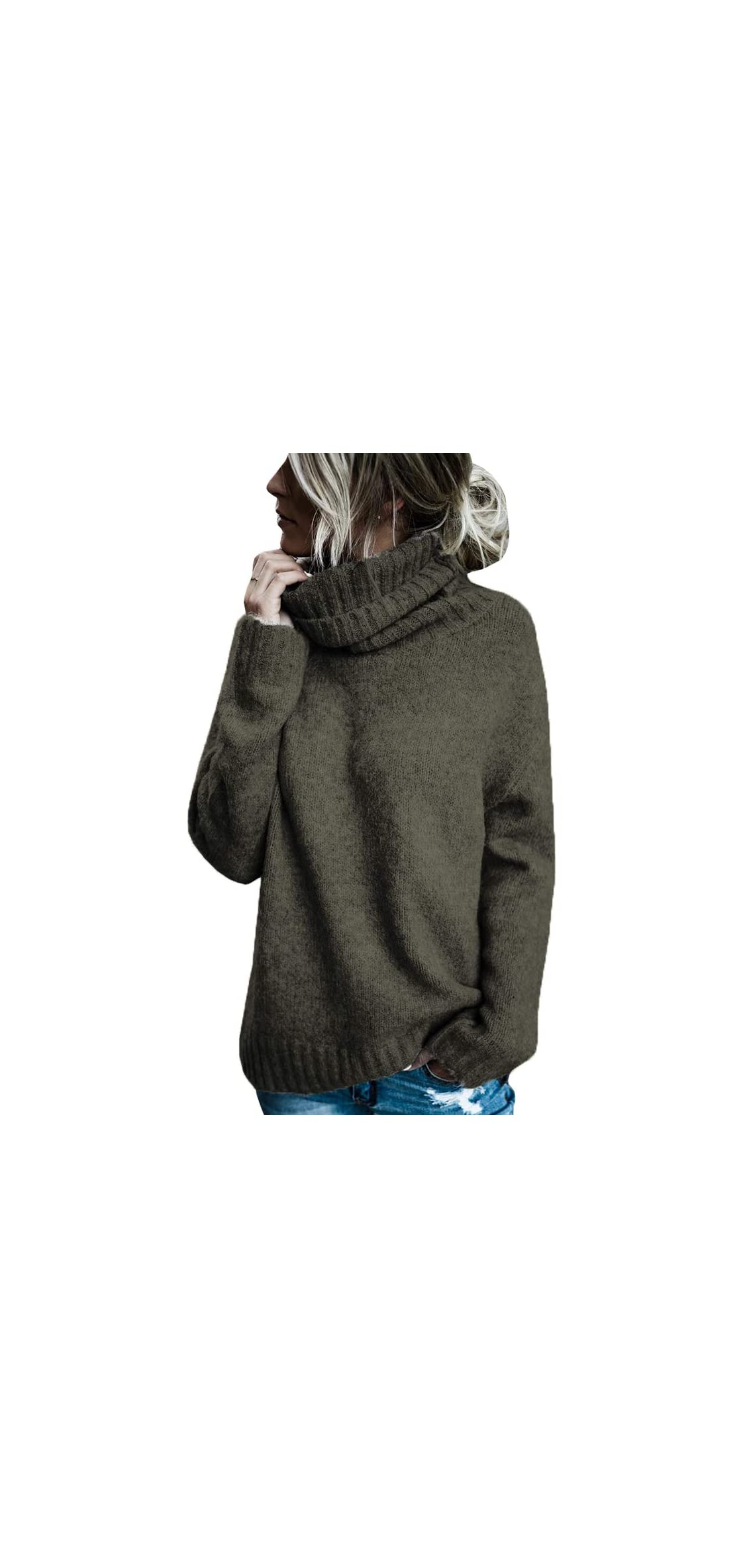Womens Oversized Sweaters Turtleneck Batwing Sleeve