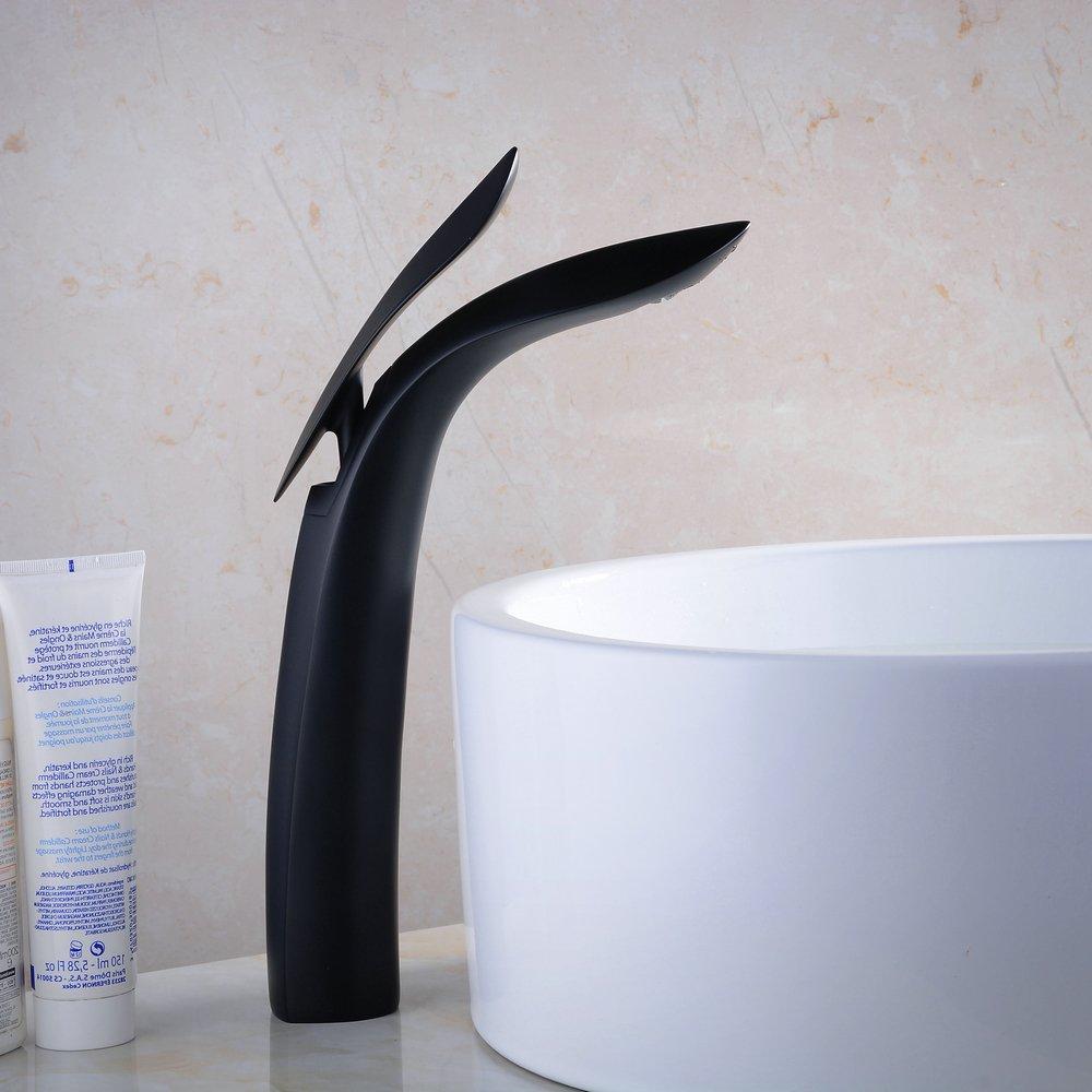 argent Robinet de lavabo haut de gamme pour lavabo sur/élev/é Robinet mitigeur moderne avec poign/ée unique Noir