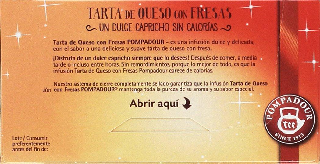 Pompadour Infusión Tarta de Queso con Fresas - Pack de 4 x 18 Bolsitas: Amazon.es: Alimentación y bebidas