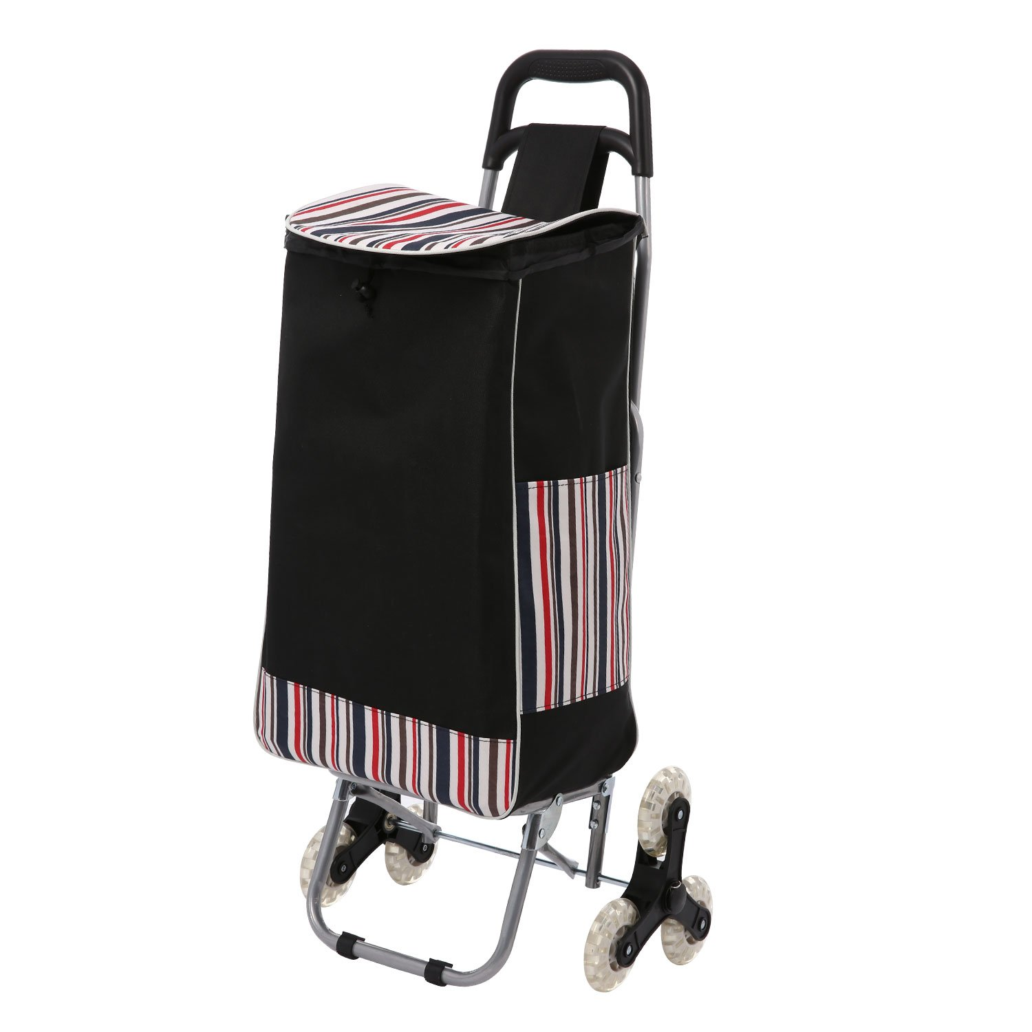 32L Stair Climbing Shopping Cart, Coocheer Upgraded Folding Utility Grocery Laundry Shopping Trolley with Tri-Wheels,Shopping Bag Size: 13 x 7.1 x 21.3 inches