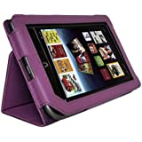 Full Screen Touchable Leather Cover Case for Barnes and Noble Nook Tablet Nook Color with Stand Purple