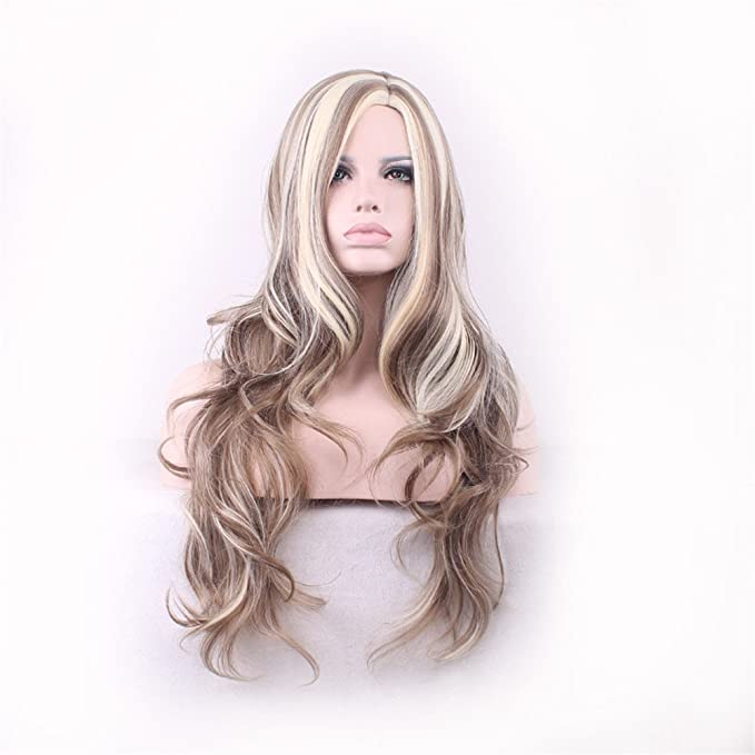Women Girls Fashion Cute Long Curly Wavy Brown Blonde Highlight Hair Wig Heat Resistant Fiber Synthetic Party Cosplay Wigs