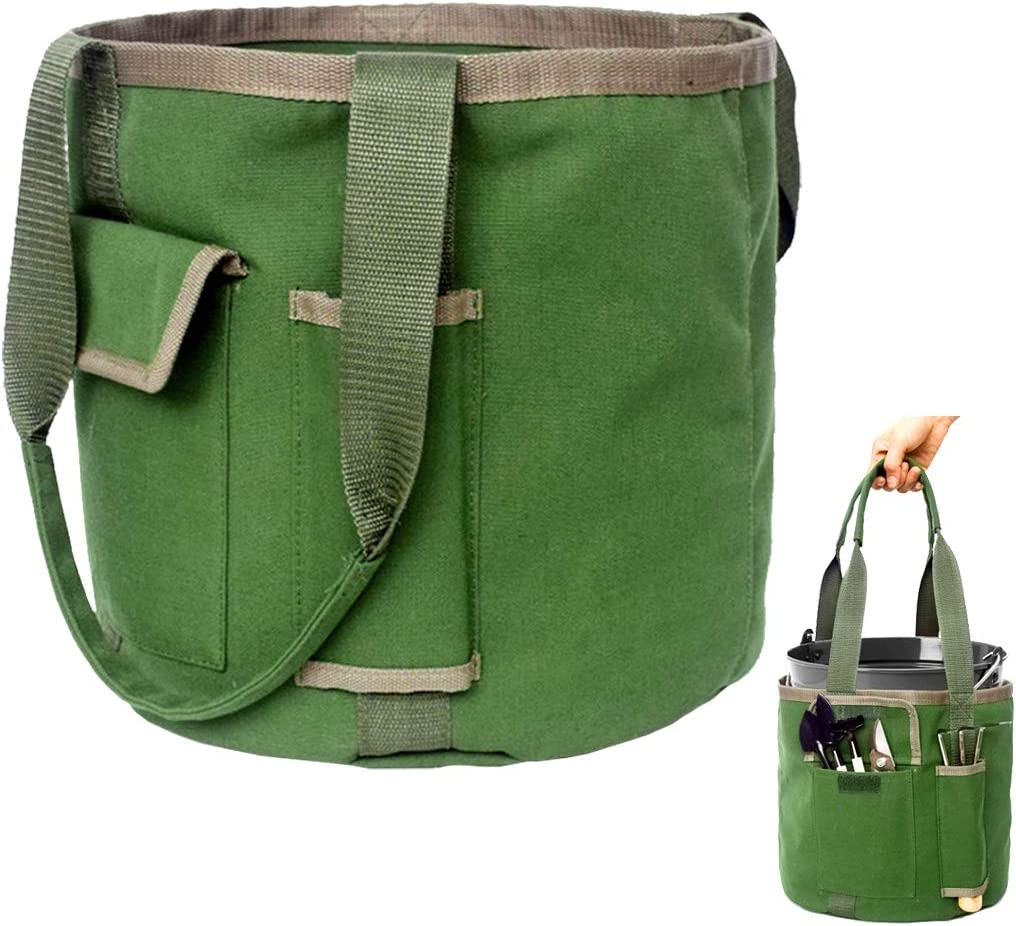 Garden Tools Storage Bag with Pockets, Garden Tote Canvas, Garden Tool Set, Kit (Bucket Bag Only/No Tools)