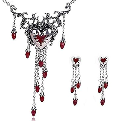 Offer, MERSDW Europe and The Gothic Punk Halloween Retro Skull Red Dripping Peach Heart Set Rhinestone Long Crystal Pendant Necklace Creative Jewelry (Red) : Garden & Outdoor