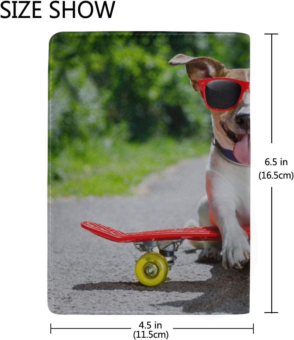 The Cute Dog Rides On A Skateboard Blocking Print Passport Holder Cover Case Travel Luggage Passport Wallet Card Holder Made With Leather For Men Women Kids Family