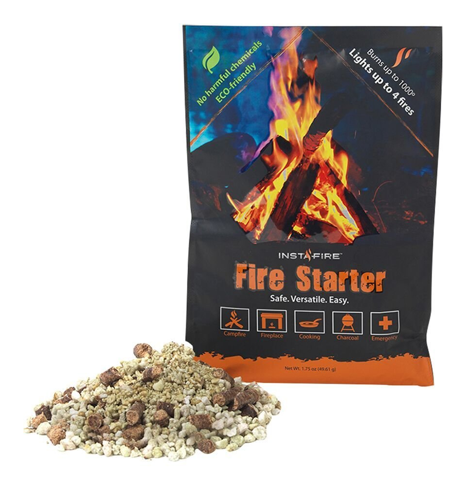 Instafire Granulated Fire Starter, All Natural, Eco-Friendly, Lights up to 48 Total Fires in Any Weather, Awarded 2017 Fire Starter Of The Year, 12 Pk
