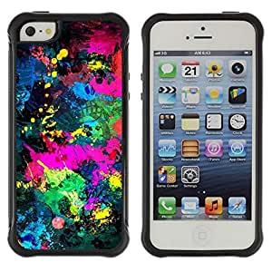Hybrid Anti-Shock Defend Case for Apple iPhone 5 5S / Cool Abstract Color Splash