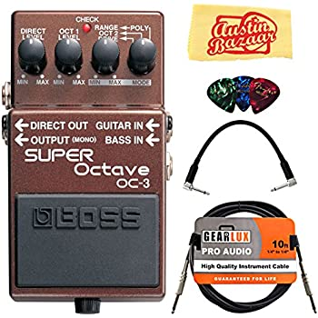Boss OC-3 Super Octave Bundle with Instrument Cable, Patch Cable, Picks, and Austin Bazaar Polishing Cloth