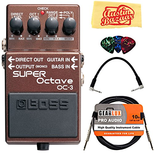 (Boss OC-3 Super Octave Bundle with Instrument Cable, Patch Cable, Picks, and Austin Bazaar Polishing Cloth)