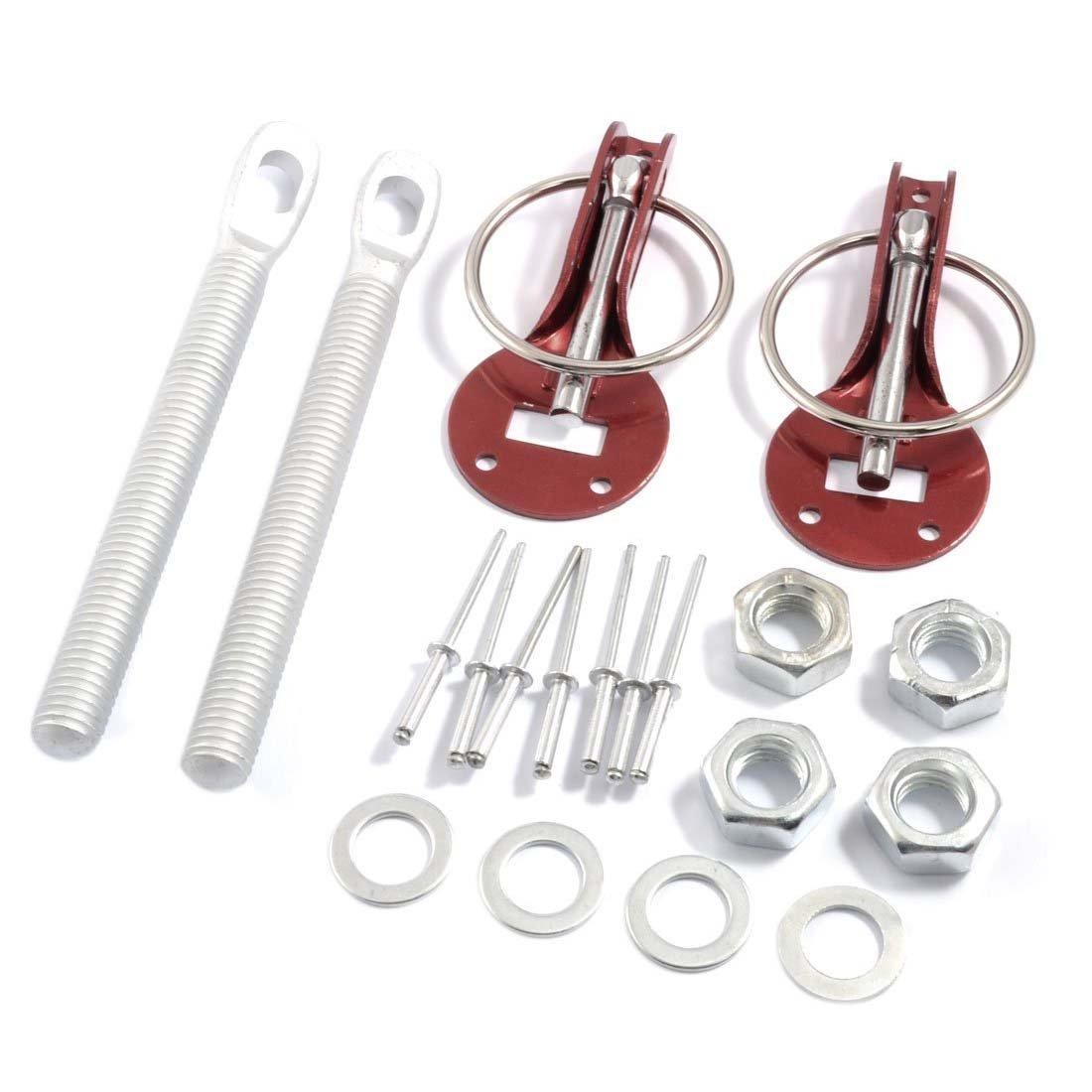 SODIAL(R) Universal Aluminum Red Clasp Hood Pin Lock Kit for Fiberglass Aluminum Hood LEPACA3039