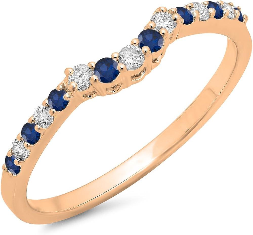 Round Blue Sapphire & White Diamond Ladies Contour Wedding Stackable Ring, 14K Gold