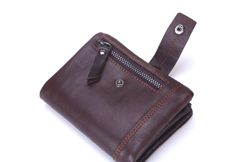 Portefeuille, Portefeuille Hommes Tri-Fold Portefeuille en Cuir Court Sac Multifonctions en Cuir de Première Couche (Color : Brown)