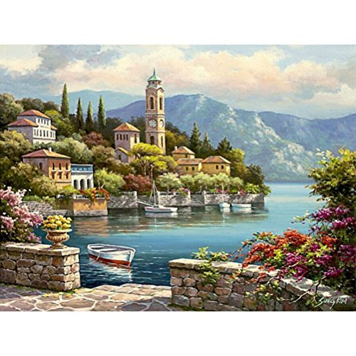 KOTWDQ Frameless Romantic Harbor Seascape Diy Painting By Numbers Kits Acrylic Paint Without Frame D10052740 (Seascape Harbor)