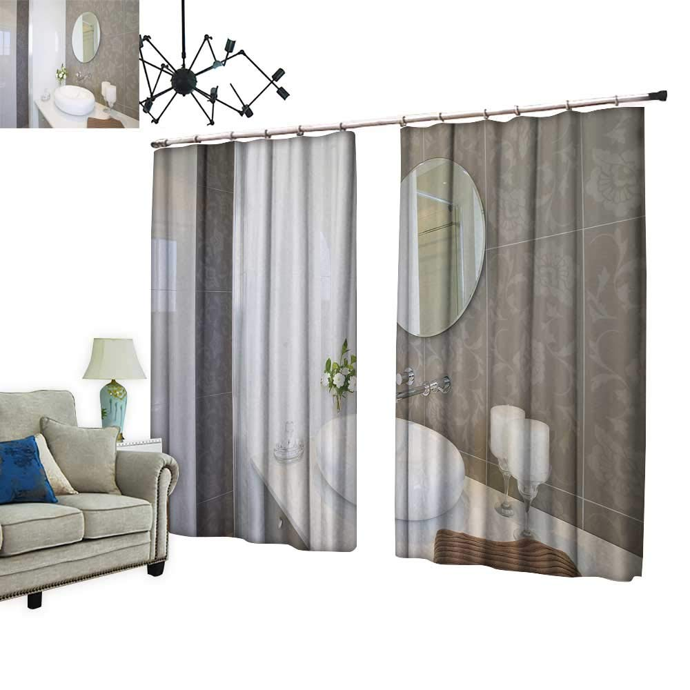 PRUNUS Blackout Curtains with Hook New Roun Sink Mirror Stainless Steel Faucet Warm Home Designs,W120 xL108