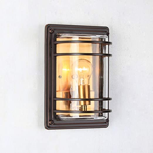 Retro E27 Aplique de pared Exterior Interior Impermeable IP44 Lámpara de jardín Sombra de aluminio y vidrio Lámpara de pared Pasillo Pasillo Balcón Villa Entrada Iluminación,Barrido marrón rojo: Amazon.es: Iluminación