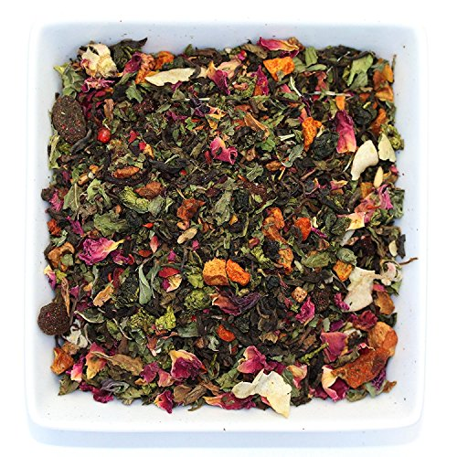 Tealyra - Berry Rose Slenderize - Pu Erh 5 Year Aged with Green Oolong - Loose Leaf Tea Blend - Diet - Weight Loss - Wellness Healthy Tea - All Natural Ingredients - 110g (4-ounce) (Mint Tea Tummy)