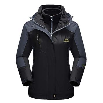 MAGCOMSEN Womens Outdoor 3-in-1 Water Resistant Skiing Snowboarding Jacket Fleece Warm Raincoat