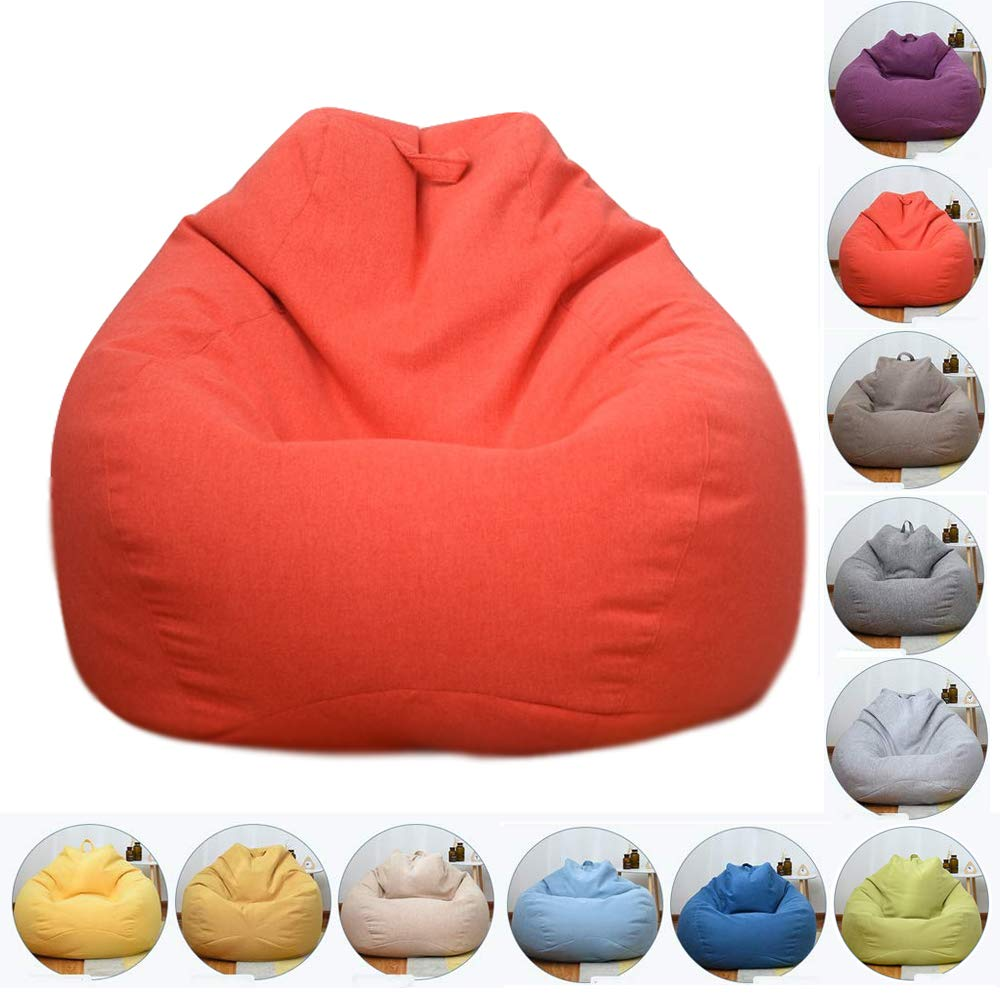 orangeRed 90110cm Bean Bag Chair, Natural Cotton Linen Fabrics Beanbag Seat Chair with Removable Washable, for Outdoor Garde Indoor Gamer,CornYellow,100  120cm