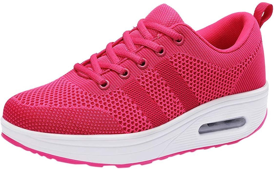 ALIKEEY - Zapatillas de Running para Mujer, Plataforma de Vibraciones, Zapato Entrelazado, Zapatilla Casual, Zapatillas, cojín de Aire, Zapatos, Color Rosa, Talla 39/40 EU: Amazon.es: Zapatos y complementos