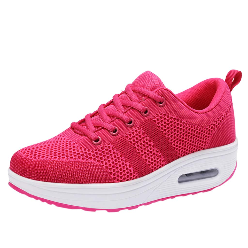 Women's Running Shoe Mesh Breathable Sport Shoe Air Cushion Shoes Platform Sneakers Lace-Up Walking Shoe By Lmtime(Hot Pink,35)