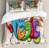 Ambesonne Music Queen Size Duvet Cover Set, Illustration of Graffiti Style Lettering Headphones Hip Hop Theme on Beige Bricks Picture, A Decorative 3 Piece Bedding Set with 2 Pillow Shams, Multicolor