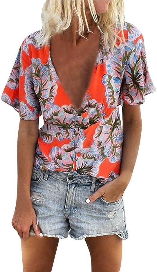 VEMOW Blusas Mujer Camiseta de Manga Corta Suelta Camiseta de Manga Corta con Estampado Floral de Mujer Tops Blusas: Amazon.es: Ropa y accesorios