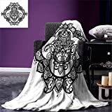 smallbeefly Hamsa Digital Printing Blanket Curvy Ornate Frame with Antique Religious Motif Floral Ethnic Tattoo Hand of Fatima Summer Quilt Comforter Black White