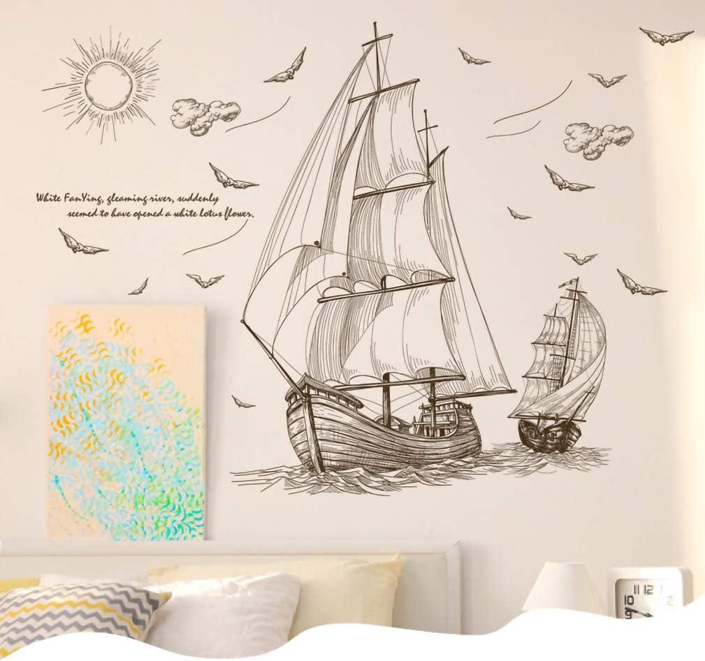 Taille 60 Ruiting Sticker Mural Bateau /à Voile Cr/éatif Autocollant Mural pour D/écoration Chambre /à Coucher Boat Wall Sticker(Couleur:Couleur 90Cm)