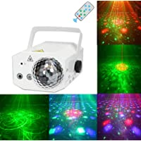 Ikakon Party Lights, LED DJ Disco Stage Lights, Projector Lights, Karaoke Strobe Performance Stage Lights with Remote Control Dancing Thanksgiving KTV Bars Birthday Outdoors Sound Control 16 Patterns