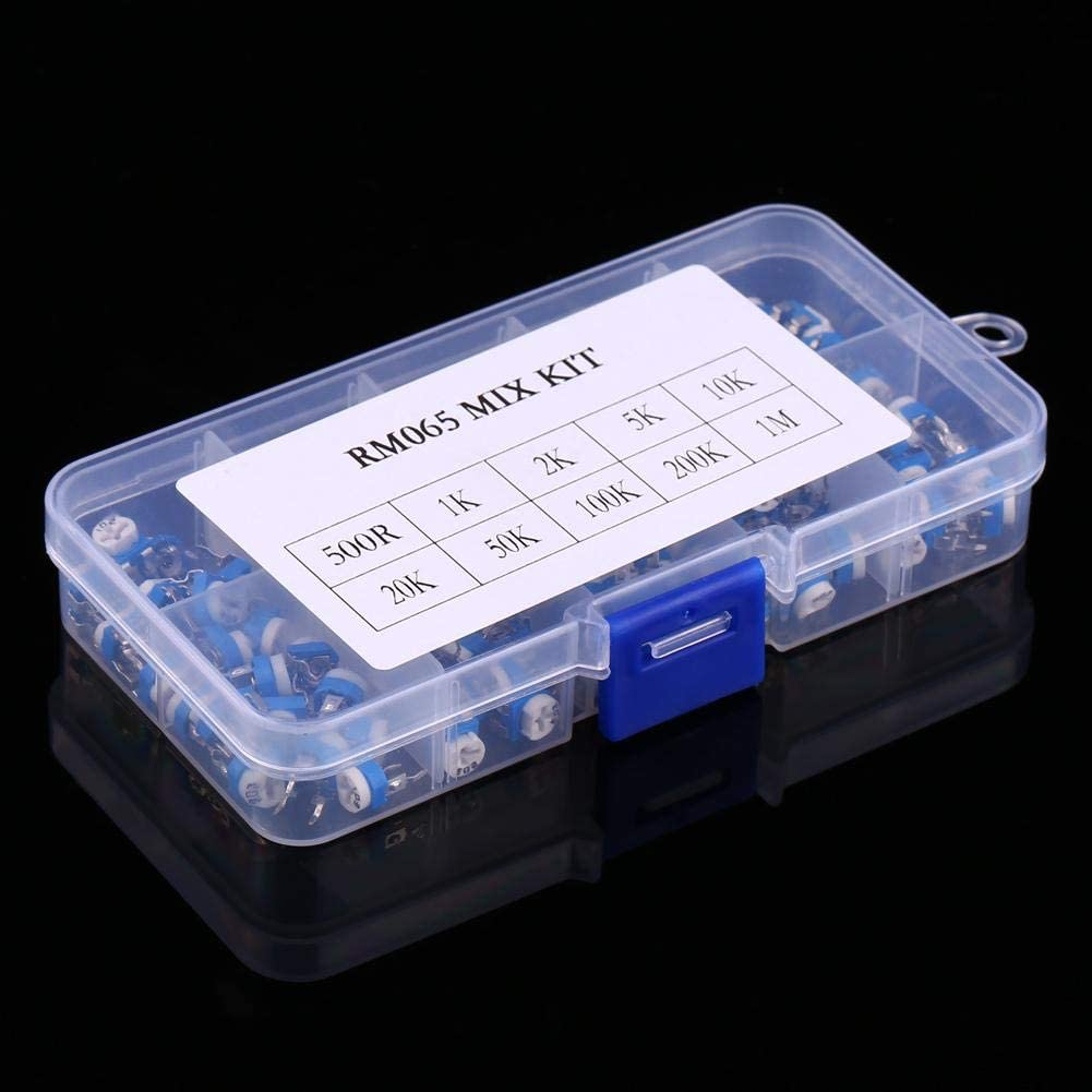 100 Piezas Kit de Surtido de potenci/ómetros Yosoo Health Gear Resistencia Variable de 10 valores 500ohm-1M Ohm