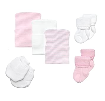 Amazon.com  Newborn Baby Hospital Hat Set with Matching Socks ... a4f782633bf