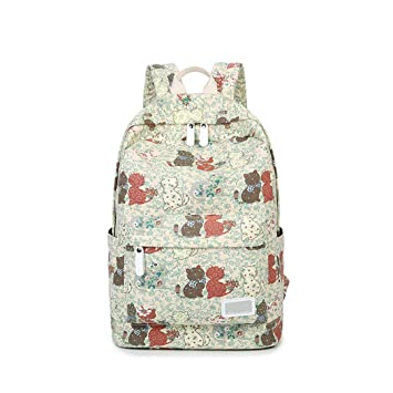 d772704807e Amazon.com | Cute Cat Print Teen Girl Blue Canvas Backpack | Casual ...