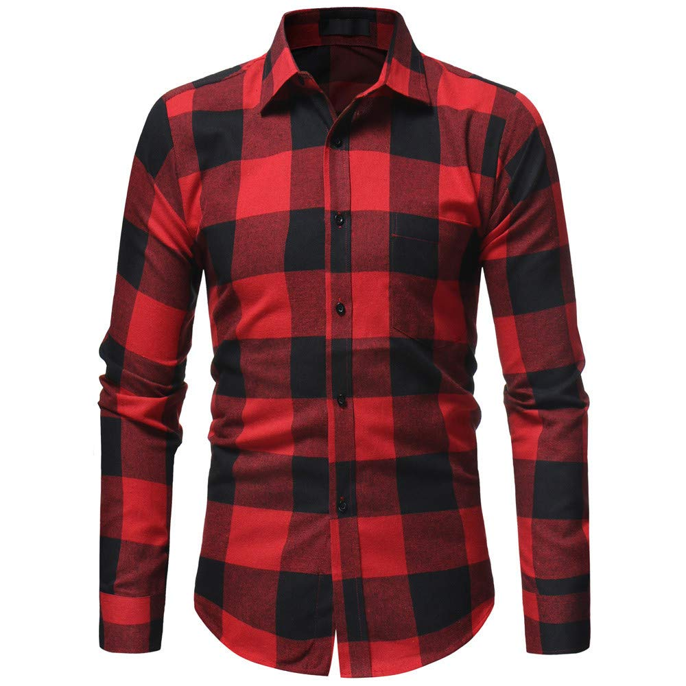PASATO Classic Men's Autumn Winter Casual Plaid Print Long Sleeve Button T-shirt Top Blouse Clearance Sale