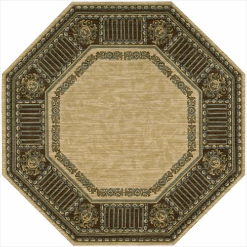 Nourison Vallencierre (VA27) Beige Octagon Area Rug, 5-Feet 6-Inches by 5-Feet 6-Inches (5'6