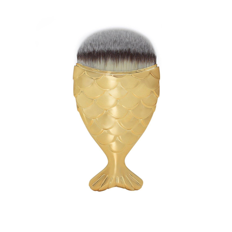 Dolovemk 1 Piece Chubby Fish-tail Makeup Brush for Applying Powder Foundation Blush Cosmetic Brush(Rose gold)