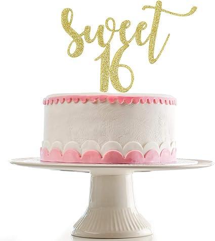 Amazon.com: Decoración para tarta de 16 cumpleaños con texto ...