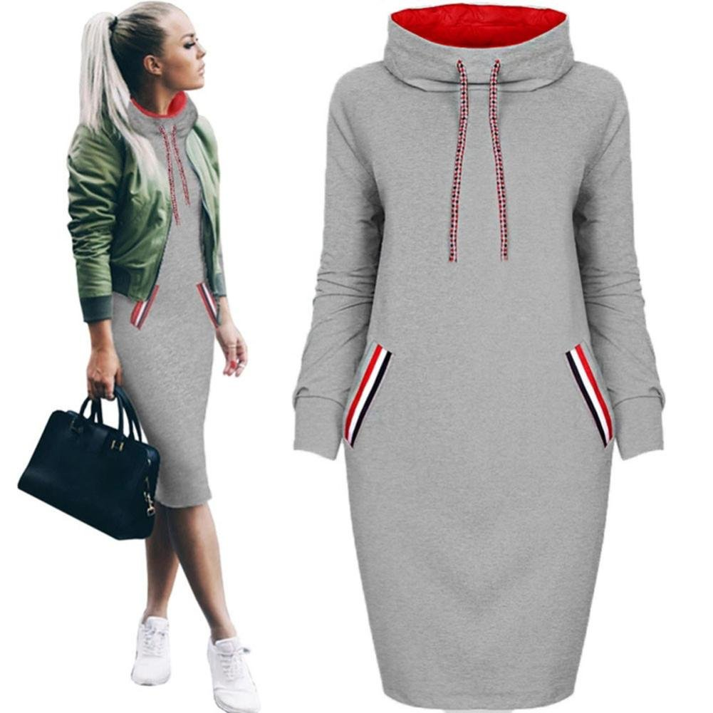 Snowfoller Fashion Women Pullover Dress, Casual Winter Long Sleeves Hoodie T-Shirt Dress Ladies Slim Mini Pencil Dress Outfits With Pockets (XL, Gray)