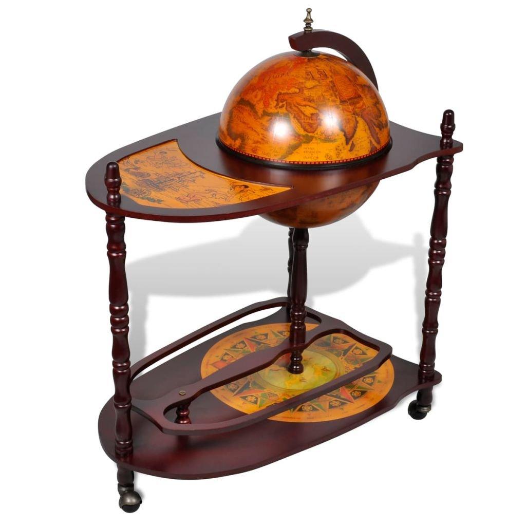 vidaXL Bar globe avec table et roulettes