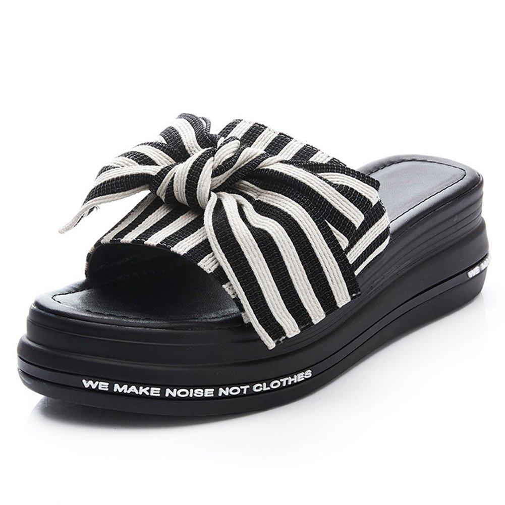 LIXIONG zapatillas Hembra verano Ropa exterior Moda Nudo mariposa Fondo de pastel de pino Fondo grueso zapato, Altura del talón 5cm, 4 colores -Zapatos de moda ( Color : #2 - Black , Tamaño : EU37/UK4.5/CN37/235 ) EU37/UK4.5/CN37/235 #2 - Bl