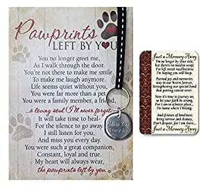 Pawprint Memorial Notecard with Miss You Key Chain and Just a Memory Away Card | Pet Loss Gift Set