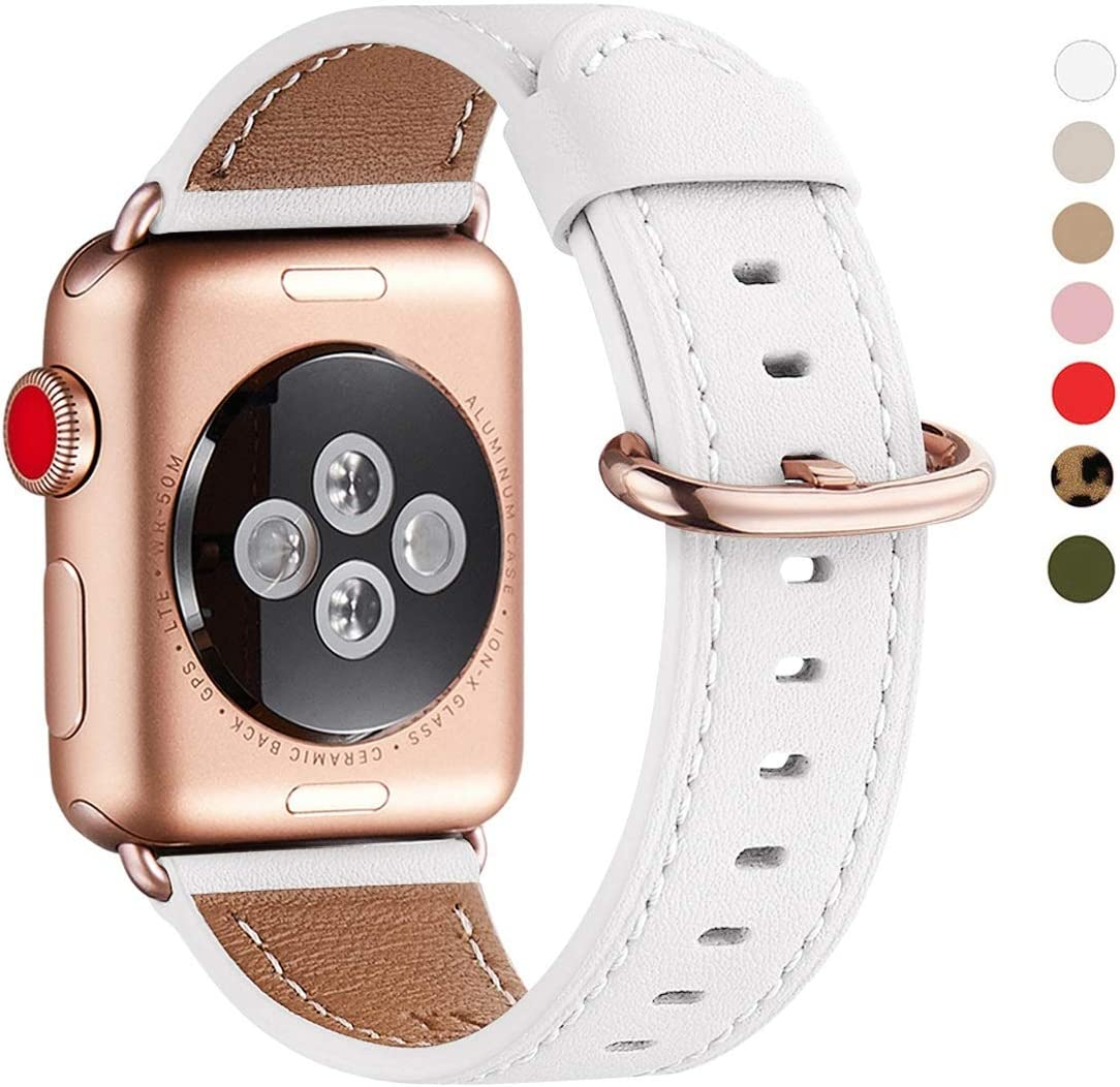 WFEAGL Compatible iWatch Band 40mm 38mm, Top Grain Leather Band with Gold Adapter (the Same as Series 5/4/3 with Gold Aluminum Case in Color) for iWatch SE & Series 6/5 /4/3/2/1 (White Band+RoseGold Adapter)