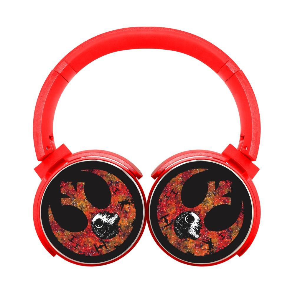 MagicQ Skull Moon Alliance Bluetooth Headphones,Hi-Fi Stereo Earphones Red lovely